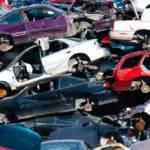 huge pile of scrap cars