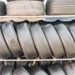 part worn tyres on a shelf