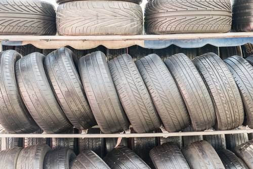 part worn tyres on a shelf
