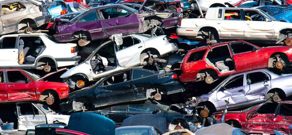 huge pile of scrap cars